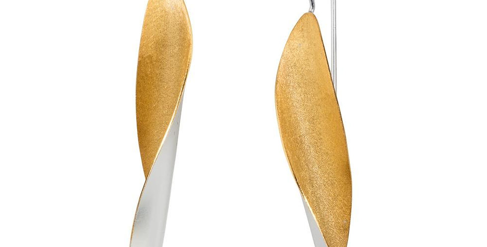 Long Leaf Silver and Gold Earrings