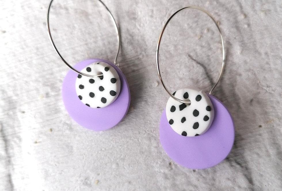 Lilac polka dot hoop