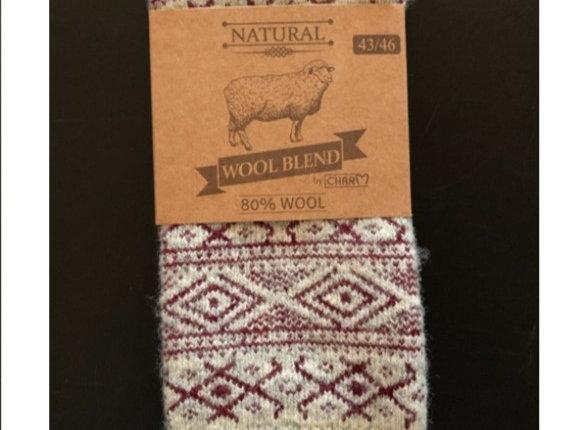 Wool socks 80% wool by WOOLWEAR of Scandinavia - red/white