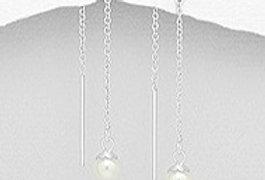 Thread Earrings - Pearl
