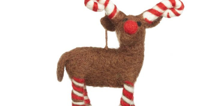 Handmade Felt Biodegradable Candy Legged Reindeer Christmas Tree Hanging Decorat