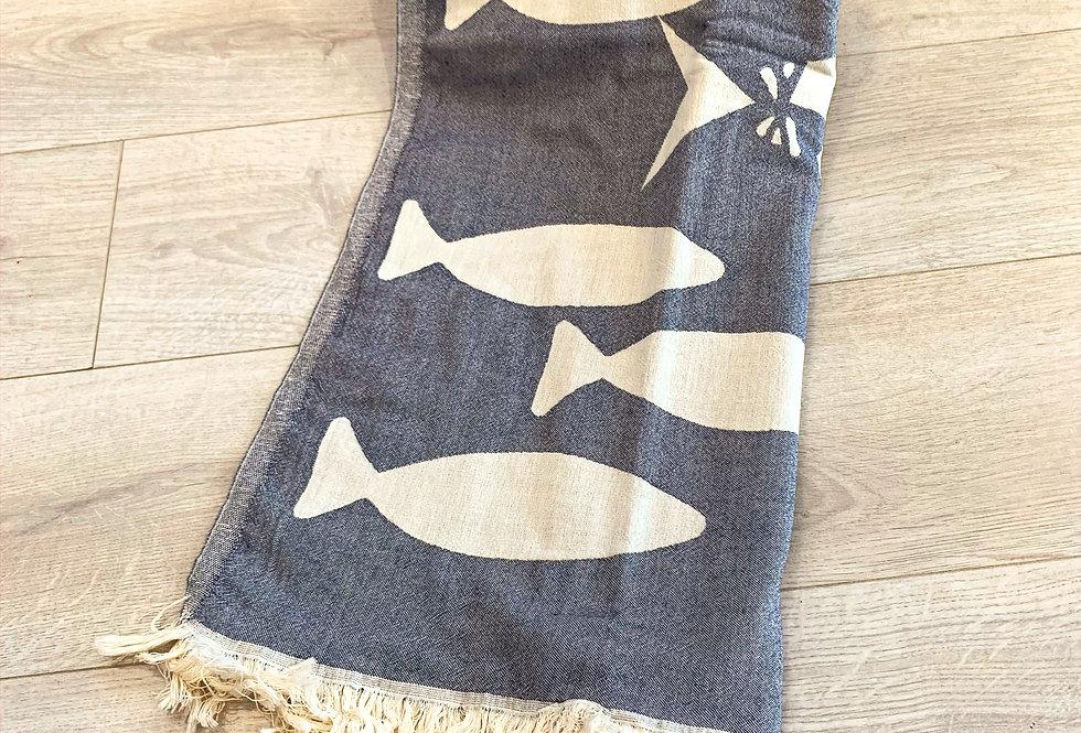 Turkish Towel - fish navy