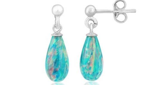 Green Teardrop Opal Silver Drop Earrings
