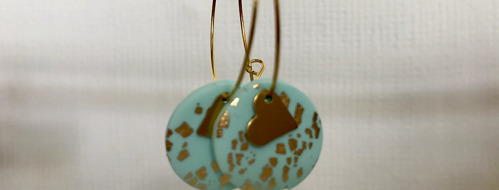 Heart disc hoops - Mint