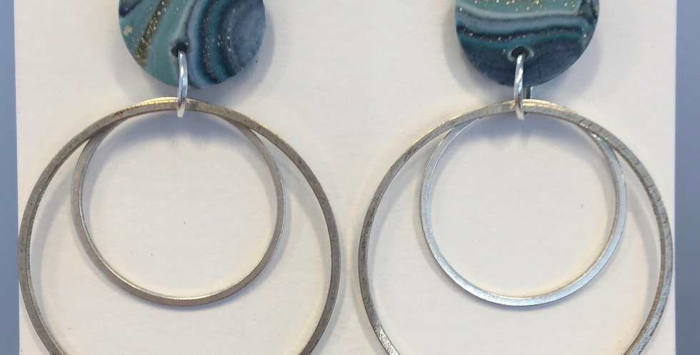 Mixed blue double circle dangles