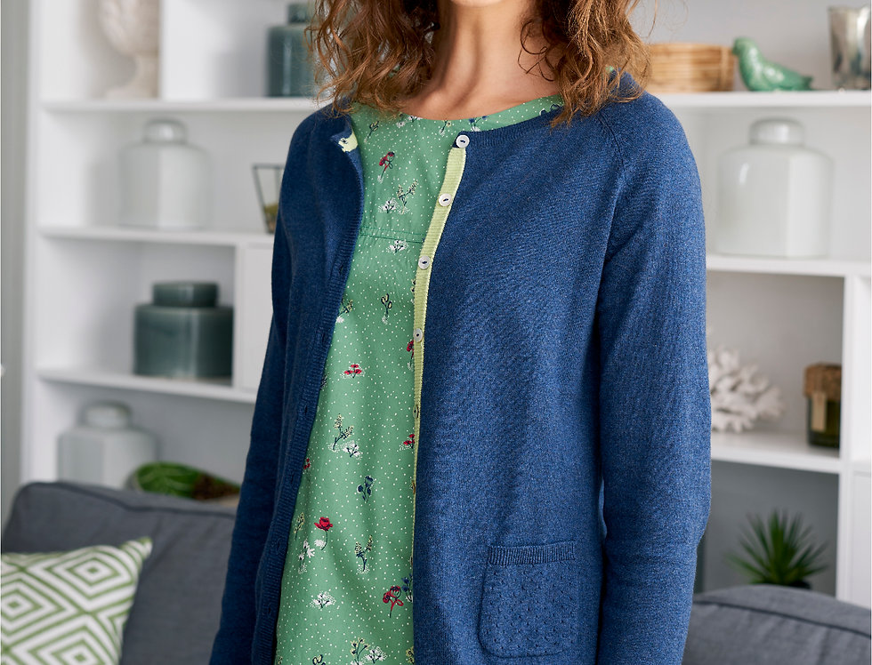 Lily and Me Pointelle Knit Cardi - Navy