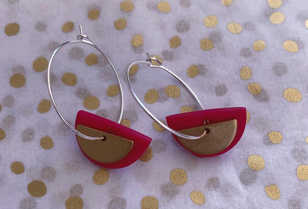 Mini brass semi circle hoops - pink