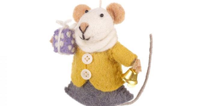 Handmade Felt Agnes Mouse Fair Trade Hanging Decoration