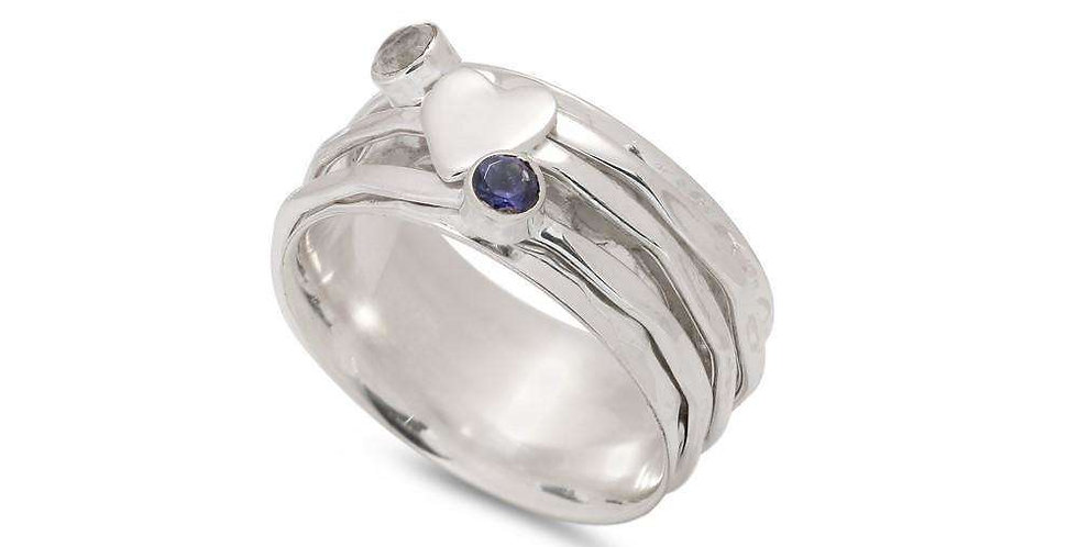 MOONSTONE, LOLITE & HEART SPINNING RING