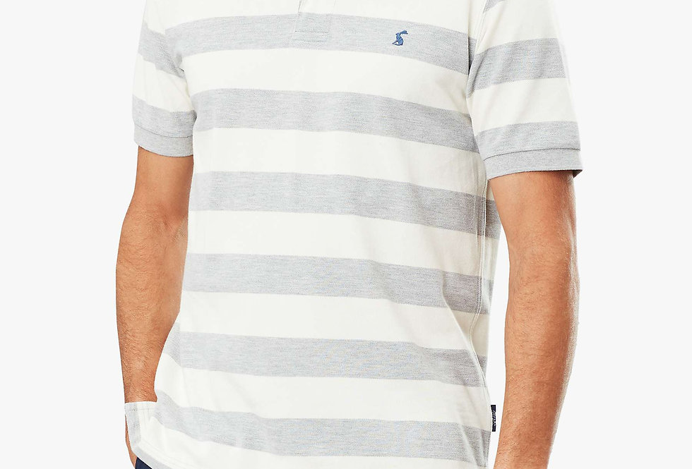 JOULES FILBERT STRIPED CLASSIC FIT POLO - Grey/Cream Stripe
