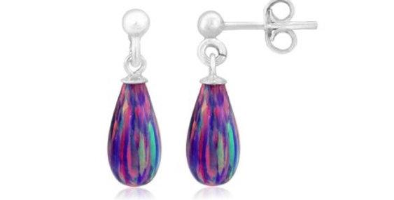Purple Teardrop Opal Silver Drop Earrings