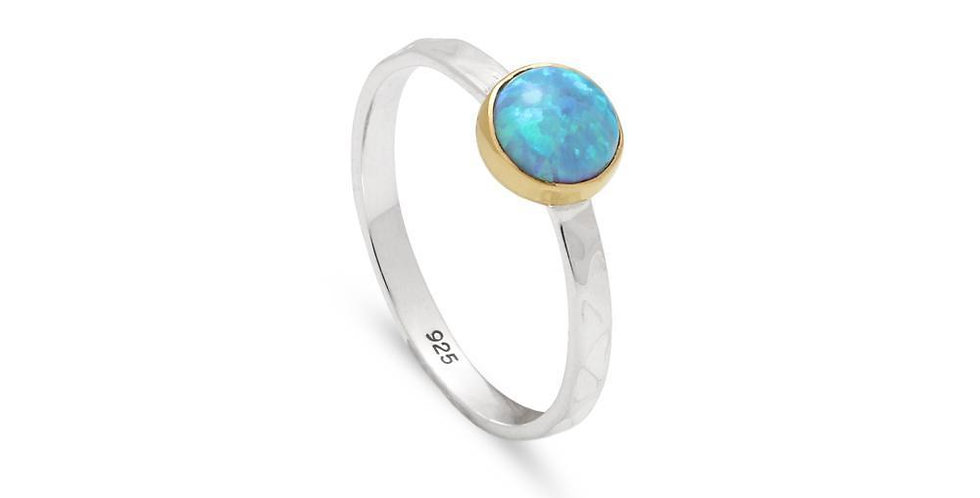 SMALL HAMMERED OPAL RING