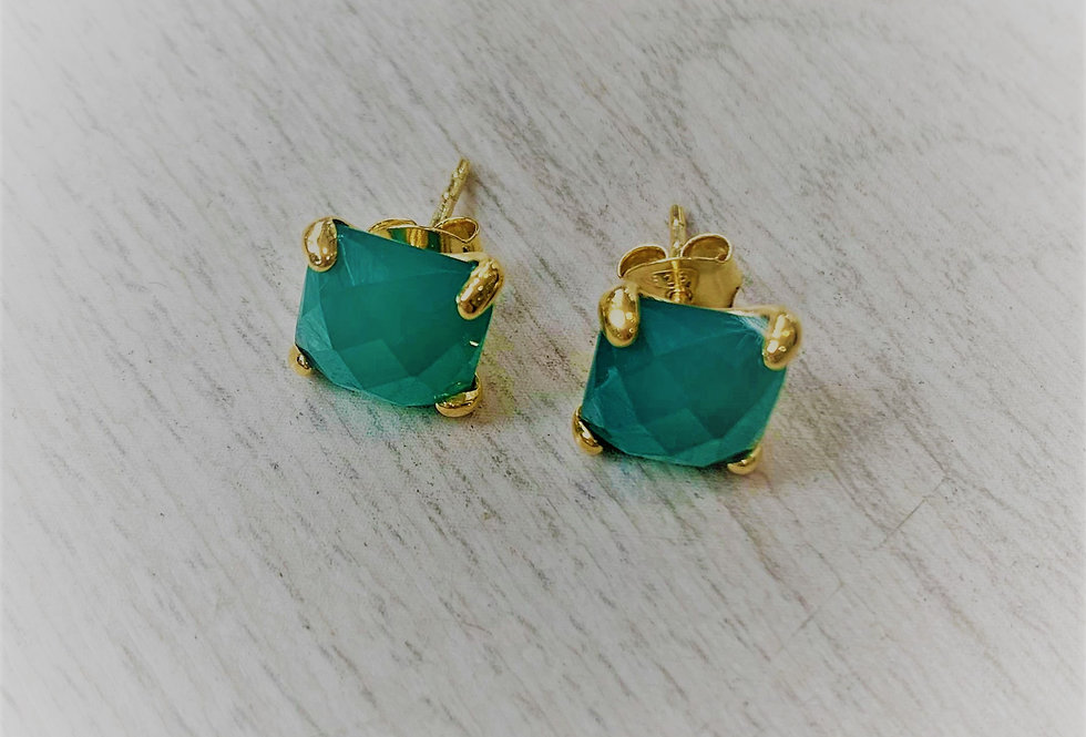 Green Onyx and 13K gold plated earrings