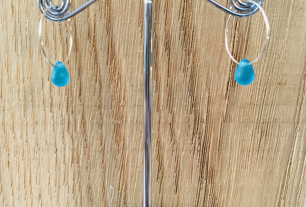 Teardrop Hoops - Blue