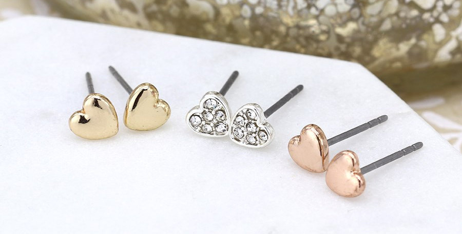 Triple heart earring set in gold, rose gold and silver plating with crystals
