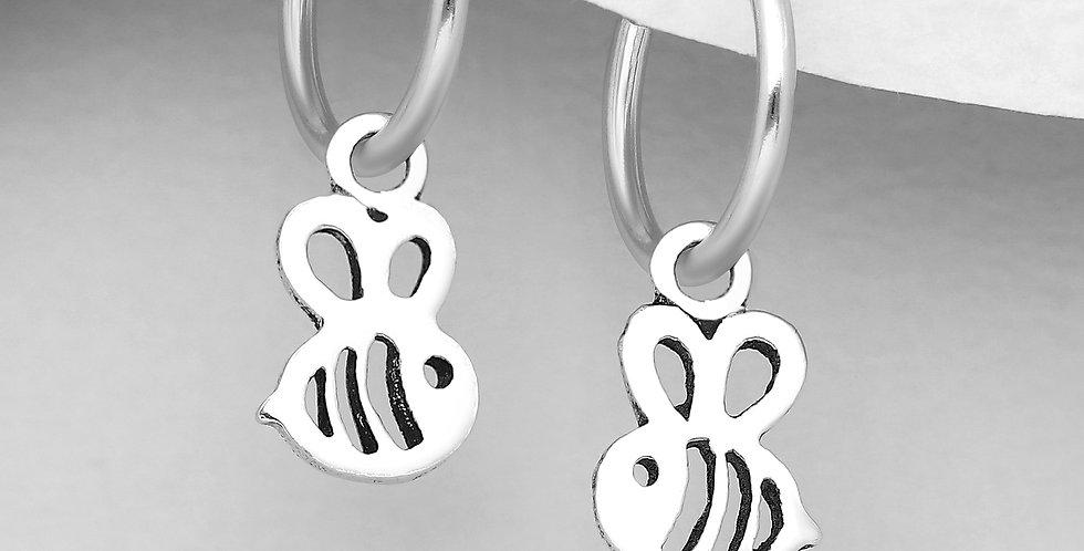 925 Sterling Silver Hoop Earrings with Bee Charm