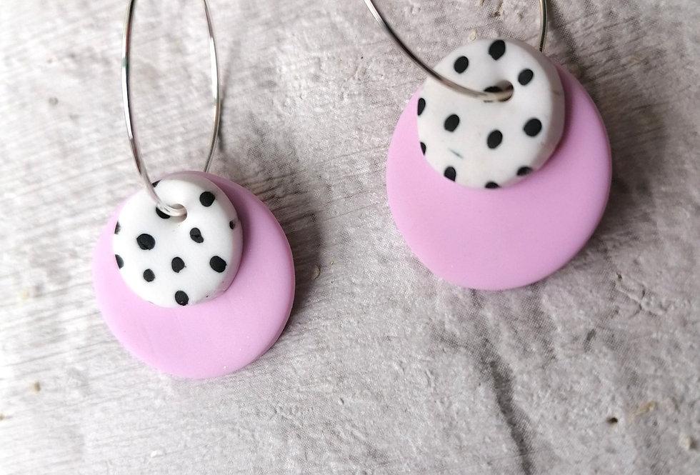 Pink polka dot hoop