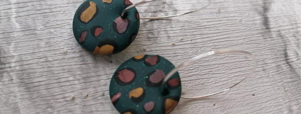 Teal leopard print hoops