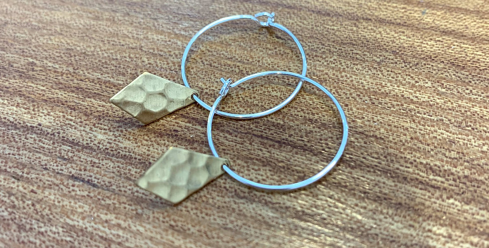 Small brass hoops - diamond