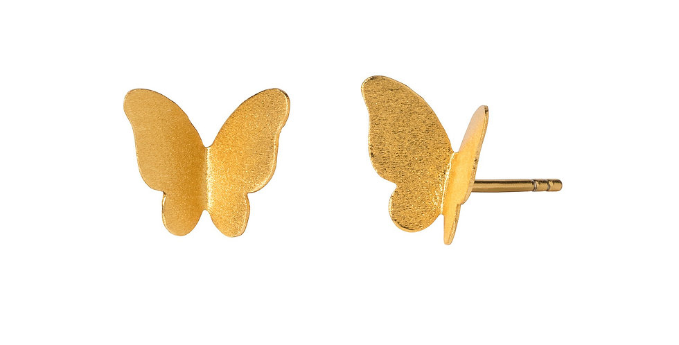 Gold Satin Butterfly Stud Earrings