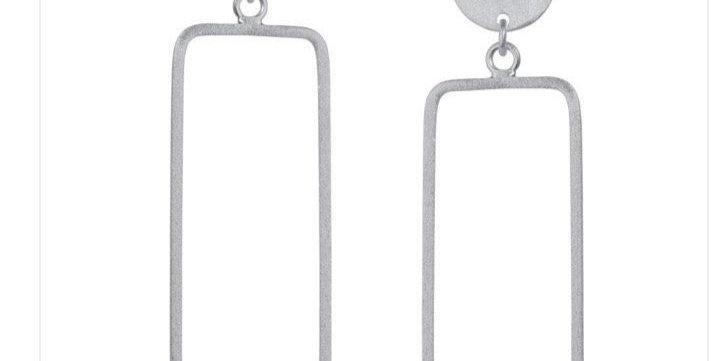Rectangular Drop Silver Earrings