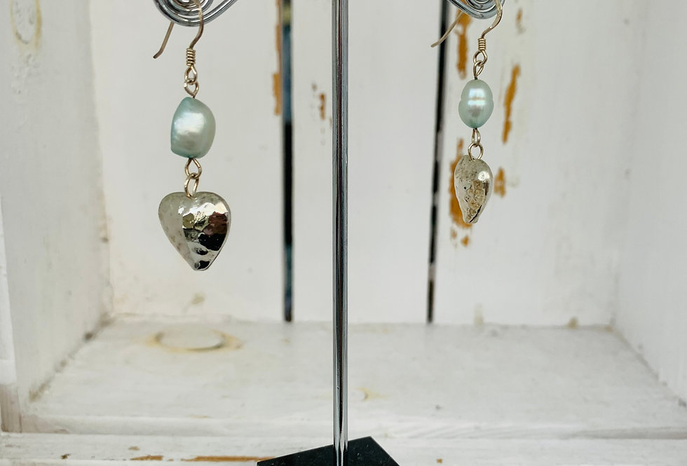 Silver heart and fresh water pearl danlges - blue