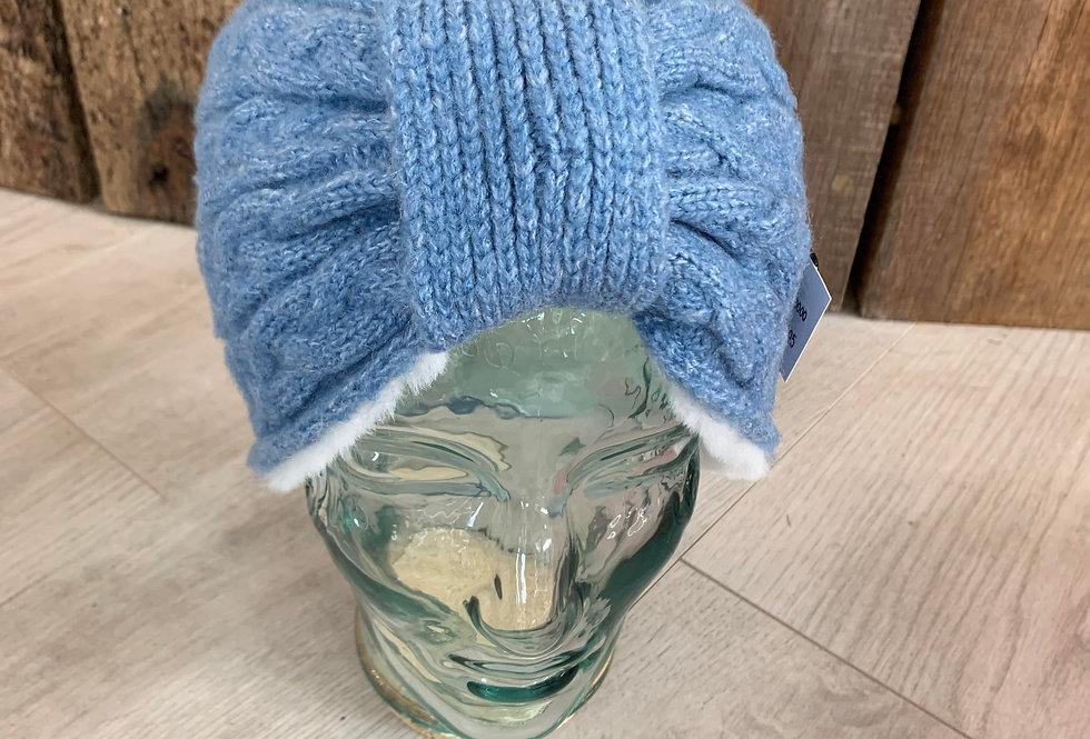 Ladies Chunky Knitted Headband - blue