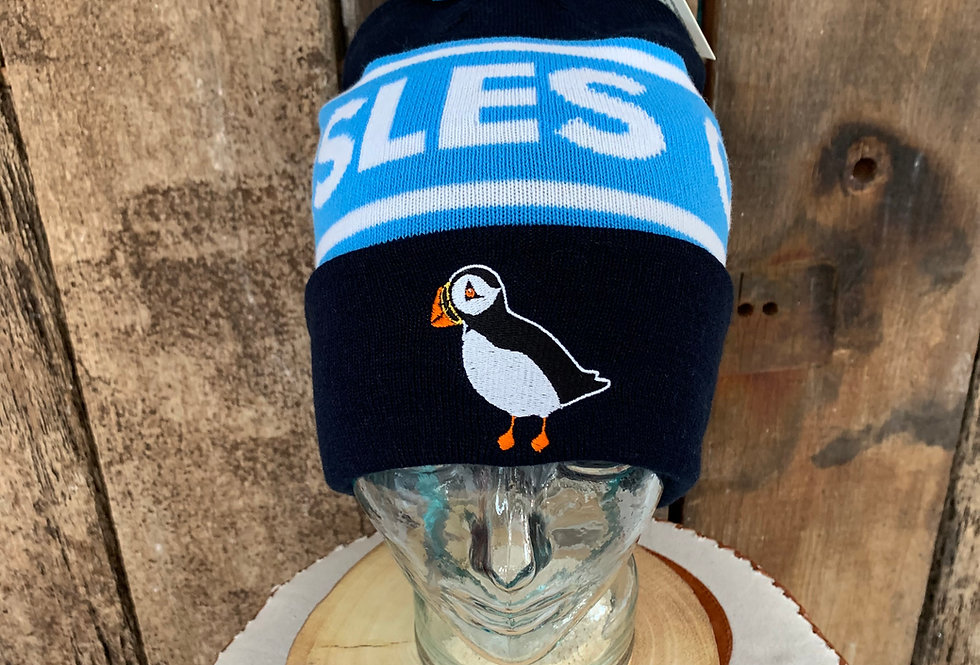 Scilly Puffin bobble hat - navy 2