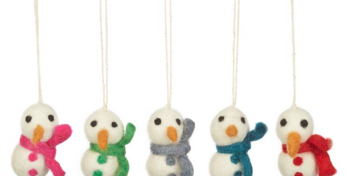 Handmade Felt Boiodegradable Mini Snowmen (Set of 5) Hanging Christmas Decoratio