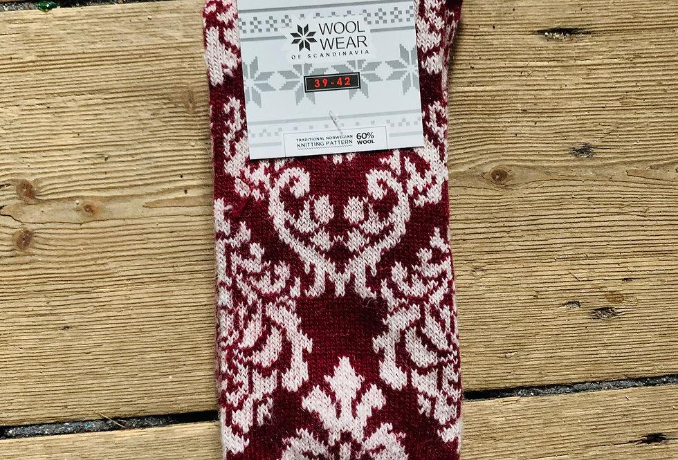 Wool socks 80% wool by WOOLWEAR of Scandinavia - burgundy/white