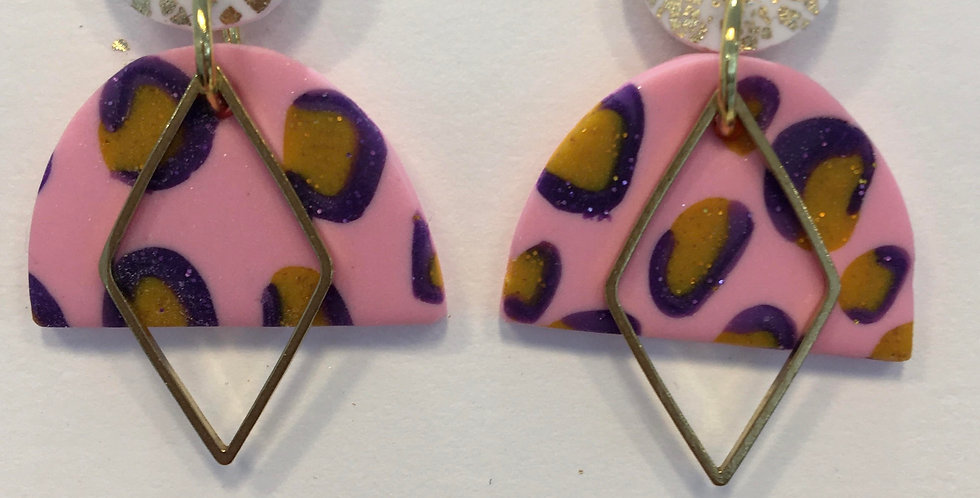 Pink diamond leopard dangles