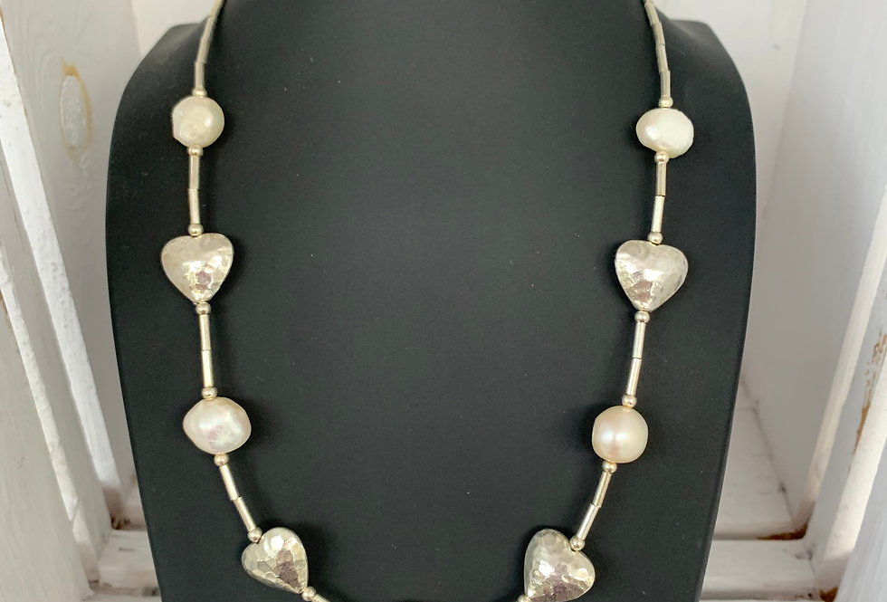 Freshwater Pearl, Heart and Tube Bead Necklace