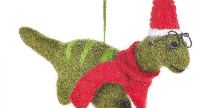 Handmade Felt Hanging Christmas Dinosaur with Specs Tree Decoration