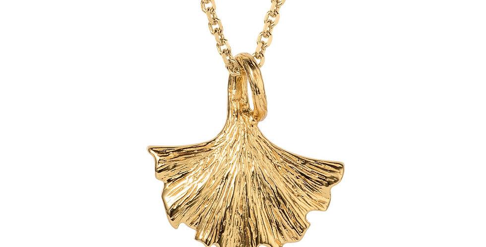 Ginkgo Leaf Gold Pendant