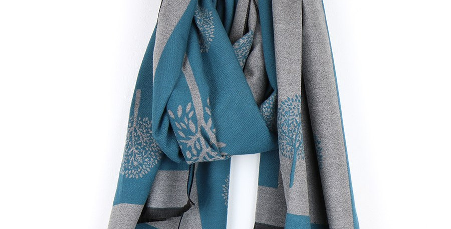Reversible teal and grey jacquard tree scarf