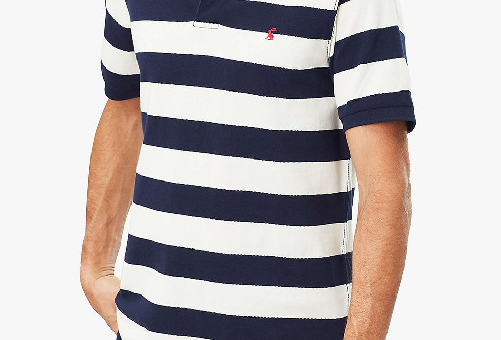JOULES FILBERT STRIPED CLASSIC FIT POLO - Navy/Cream Stripe