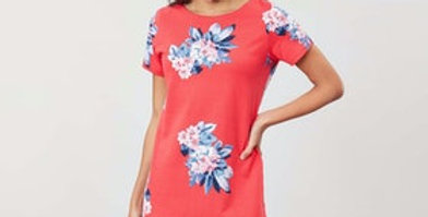 RIVIERA PRINTED DRESS WITH SHORT SLEEVES