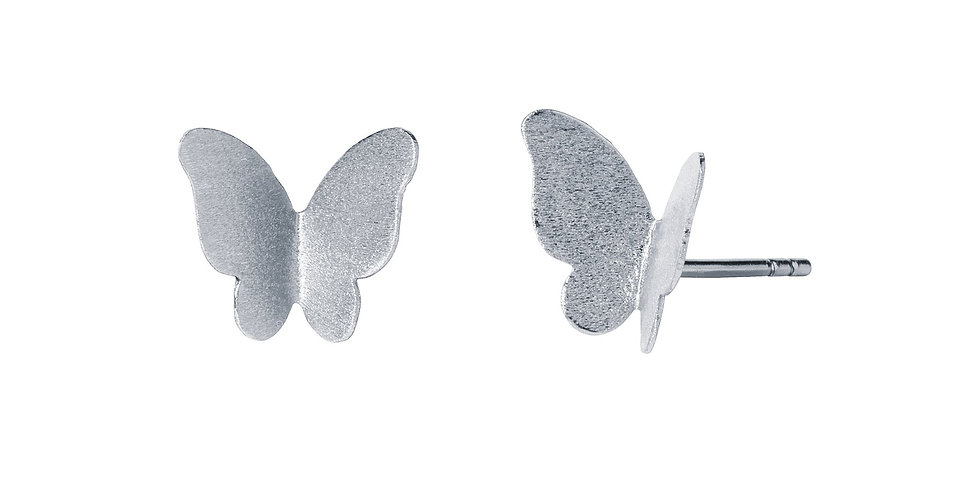 Silver Satin Butterfly Stud Earrings