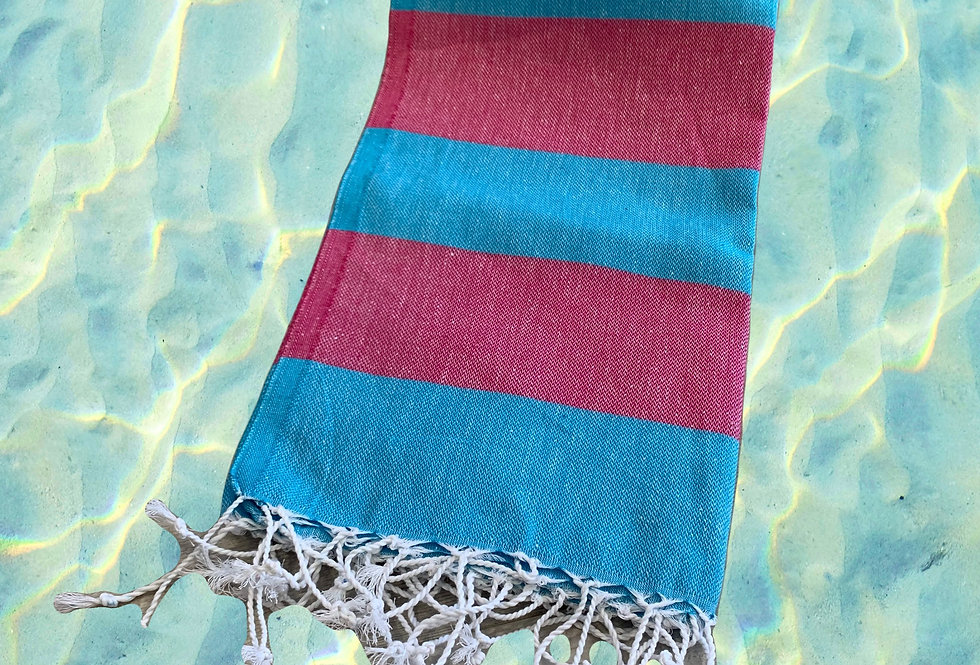Turkish Towel - blue/burgundy