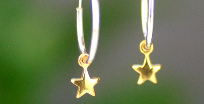 Sterling Silver Hoop and Gold Star Earrings