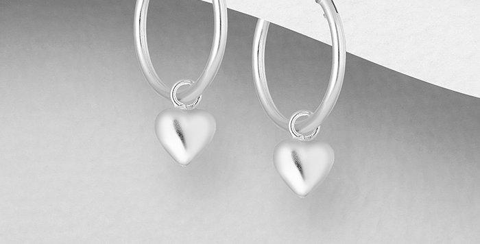 925 Sterling Silver Hoop and Heart Charm Earrings