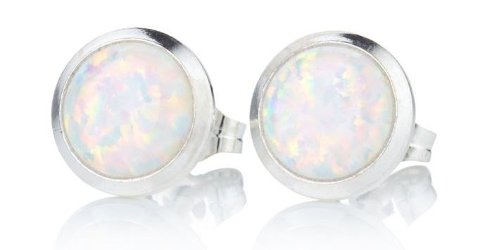 White Opal and Silver Stud Earrings - 8mm