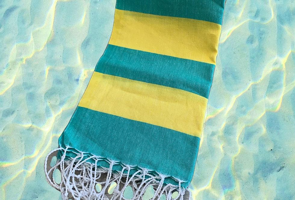 Turkish Towel - teal/yellow