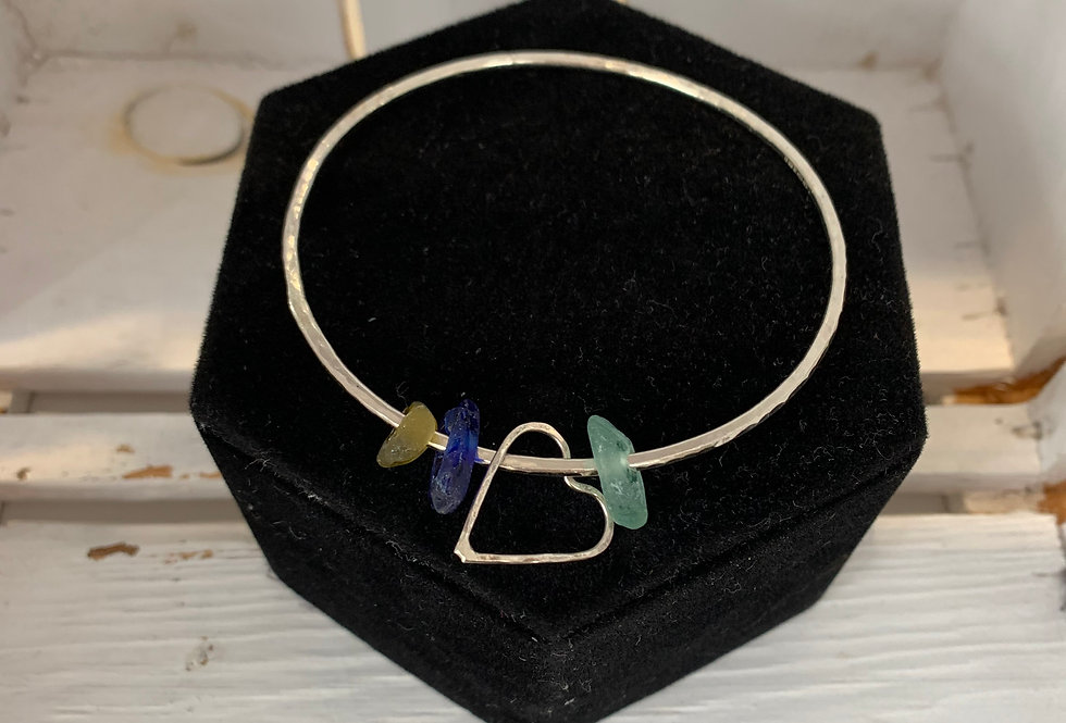Scilly sea glass bangle
