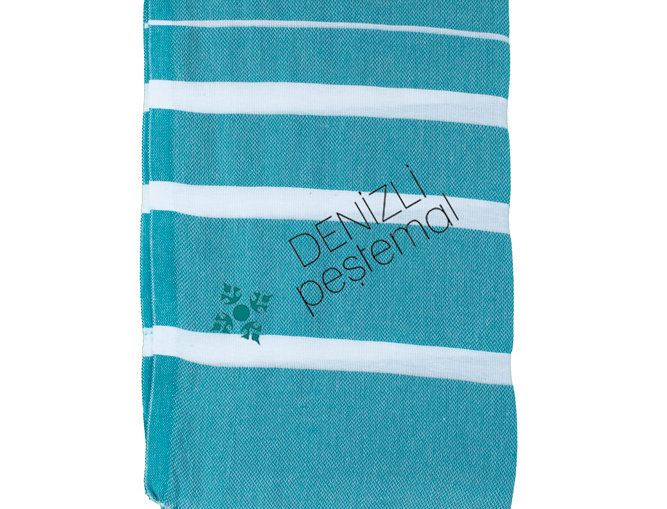 Turkish Towel - teal stripe
