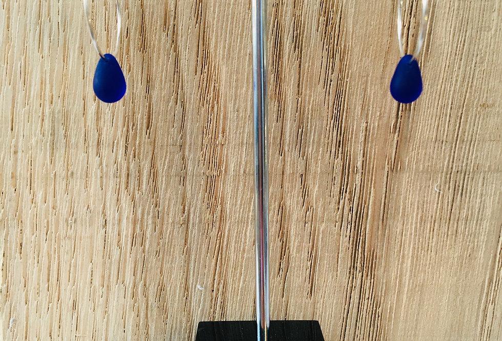 Teardrop Hoops - Cobalt Blue