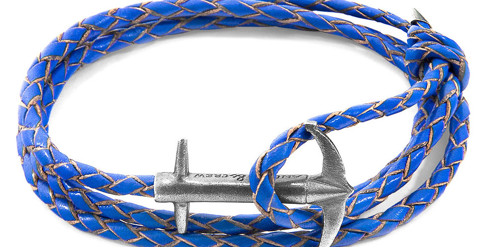 ROYAL BLUE ADMIRAL ANCHOR SILVER AND BRAIDED LEATHER BRACELET