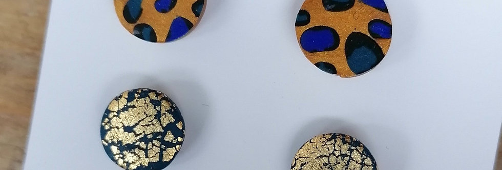 Animal print stud duos - yellow and blue circles