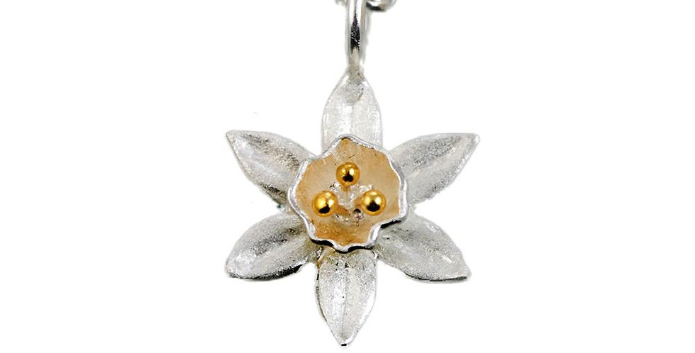 Scilly Daffodil Silver & Gold Flower Pendant