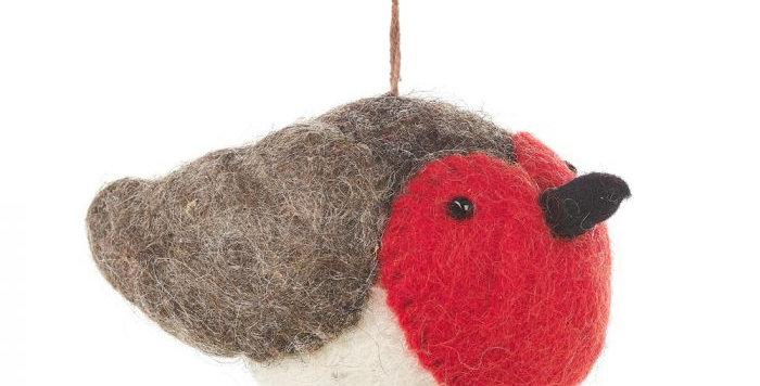Handmade Rosie Robin Needle Felt Hanging Christmas Tree Decoration